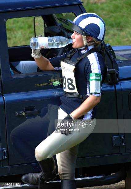 Zara Phillips daughter of Princess Anne drinks water on the third day of the Gatcombe Park Festival of British Eventing at Gatcombe Park on August 7...