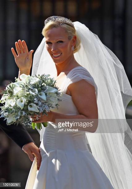 Zara Phillips departs afterher Royal wedding to Mike Tindall at Canongate Kirk on July 30, 2011 in Edinburgh, Scotland. The Queen's granddaughter...