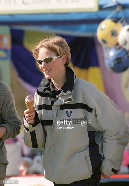 Zara Phillips Eating An Ice Cream Cone At Gatcombe Park Horse Trials Gloucestershire