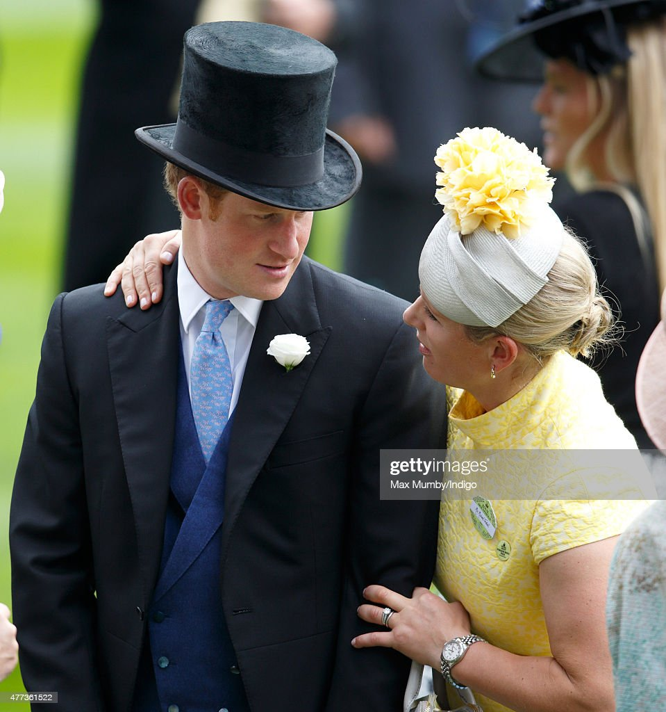Zara Phillips embraces Prince Harry as they attend day 1 of Royal Ascot at Ascot Racecourse on June 16, 2015 in Ascot, England.