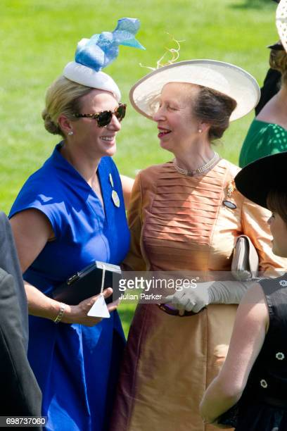 Zara Phillips greets her mother Princess Anne Princess Royal on the first day of Royal Ascot 2017 at Ascot Racecourse on June 20 2017 in Ascot England