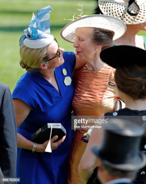 Zara Phillips hugs her mother Princess Anne The Princess Royal as they attend day 1 of Royal Ascot at Ascot Racecourse on June 20 2017 in Ascot...