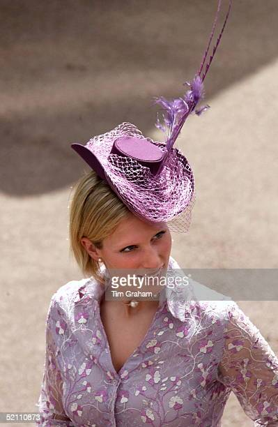 Zara Phillips In Outfit By Fashion Designer Elspeth Gibson Hat By Milliner Tara O'callaghan And A Pearl Necklace At Royal Ascot Races