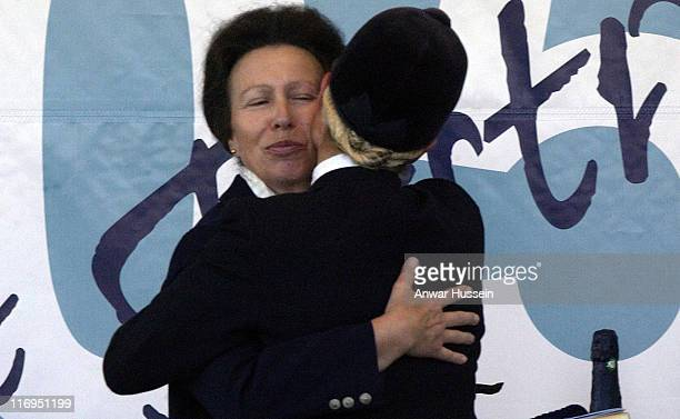 Zara Phillips is hugged by her mother, Princess Anne, after competing in the Gatcombe Park Festival of British Eventing at Gatcombe Park, on August...