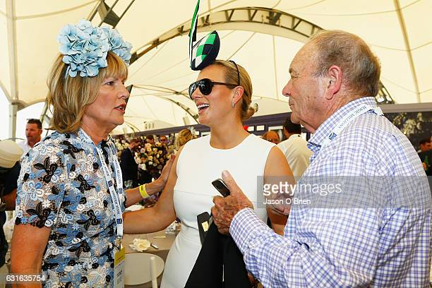 Zara Phillips Katie Paige Harvey and Gerry Harvey attend the Magic Millions Raceday on January 14 2017 in Gold Coast Australia