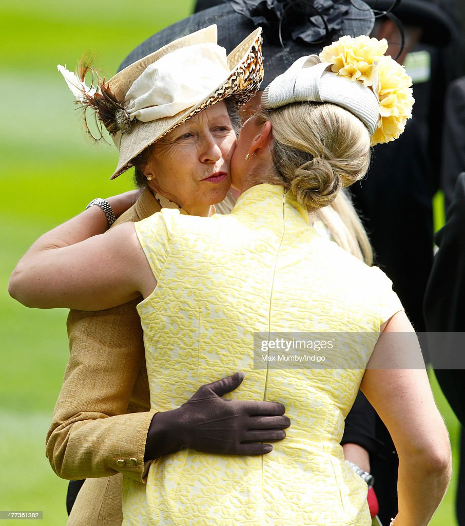 Zara Phillips kisses her mother Princess Anne, The Princess Royal as they attend day 1 of Royal Ascot at Ascot Racecourse on June 16, 2015 in Ascot, England.