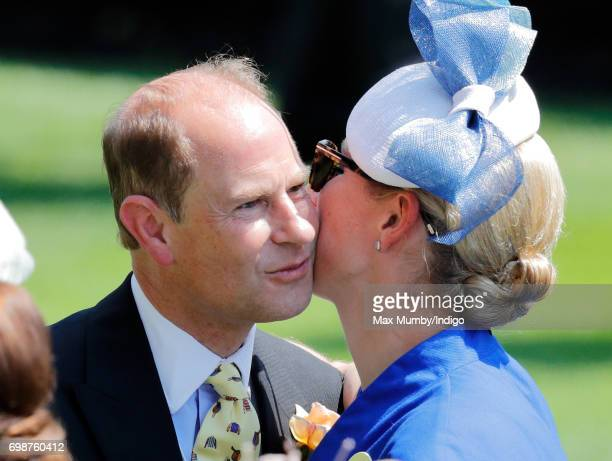 Zara Phillips kisses her uncle Prince Edward Earl of Wessex as they attend day 1 of Royal Ascot at Ascot Racecourse on June 20 2017 in Ascot England