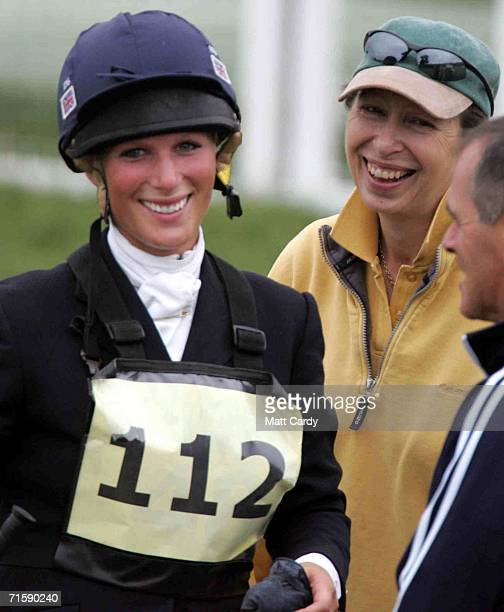 Zara Phillips laughs with her mother Princess Anne on the second day of the Gatcombe Horse Trials at the Gatcombe Estate on August 5 2006 in Tetbury...