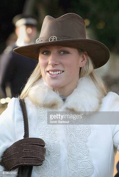 Zara Phillips leaves after attending the Christmas Day service at Sandringham Church King's Lynn on December 25 2004 in Norfolk England