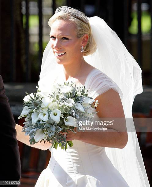 Zara Phillips leaves Canongate Kirk after her wedding to Mike Tindall on July 30 2011 in Edinburgh Scotland The Queen's granddaughter Zara Phillips...