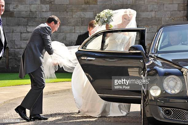 Zara Phillips leaves Holyrood Palace to go to the Royal wedding of Zara Phillips and Mike Tindall at Canongate Kirk on July 30, 2011 in Edinburgh,...