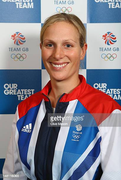 Zara Phillips of British Equestrian poses for a photograph during a Team GB Kitting Out day at Loughborough University on July 10, 2012 in...