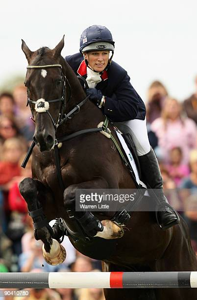 Zara Phillips of Great Britain rides Glenbuck during the Showjumping event on the final day of the Land Rover Burghley Horse Trials on September 6...