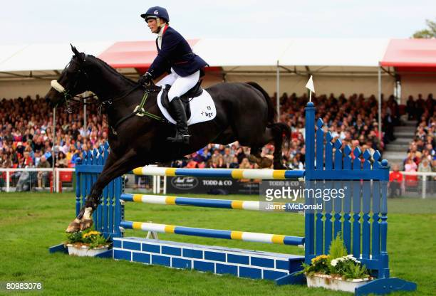 Zara Phillips of Great Britain rides GlenBuck over a jump during the Show Jumping on the fourth day of the Badminton Horse Trials on May 4 2008 in...