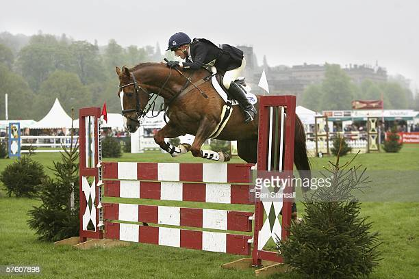 Zara Phillips on her horse Ardfield Magic competes in the show jumping at the Chatsworth SsangYong Horse Trials May 14, 2006 in Chatsworth, England.