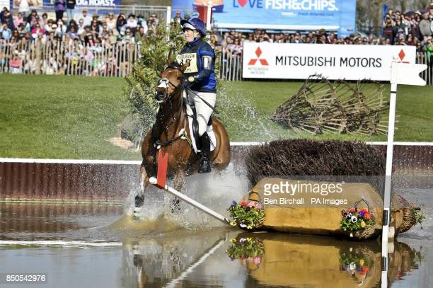 Zara Phillips on High Kingdom hits the flag on the first of two brush jumps in the Lake while taking part in the CrossCountry during day four of the...