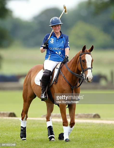Zara Phillips plays in a Jockeys vs Olympians charity polo match at the Beaufort Polo Club on June 19 2016 in Tetbury England