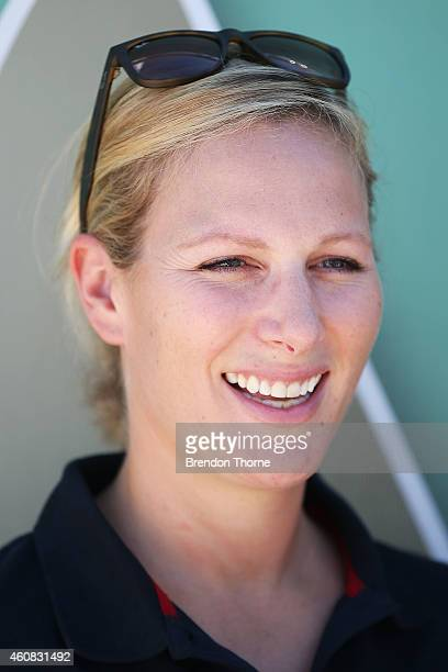 Zara Phillips poses for a photograph at the Cruising Yacht Club of Australia prior to the 2014 Sydney To Hobart on December 26 2014 in Sydney...