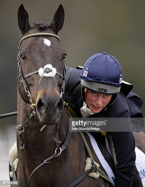 Zara Phillips prepares to ride her horse 'Glenbuck' in the showjumping phase of the Tweseldown Horse Trials on March 11 2010 in Aldershot England