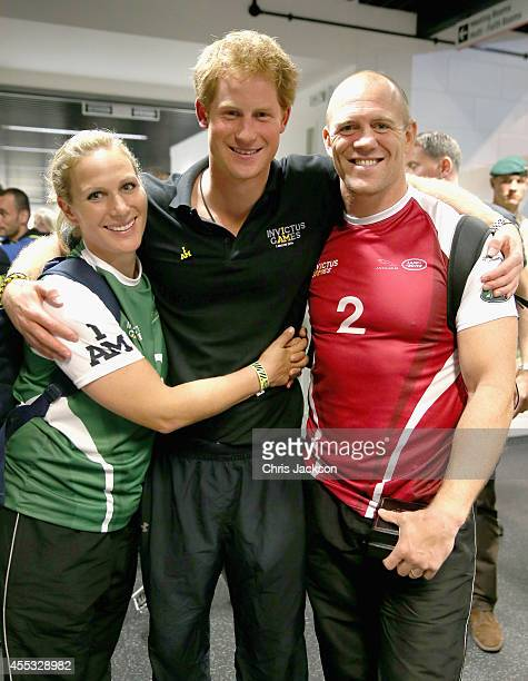 Zara Phillips Prince Harry and Mike Tindall pose for a photograph after competing in an Exhibition wheelchair rugby match at the Copper Box ahead of...