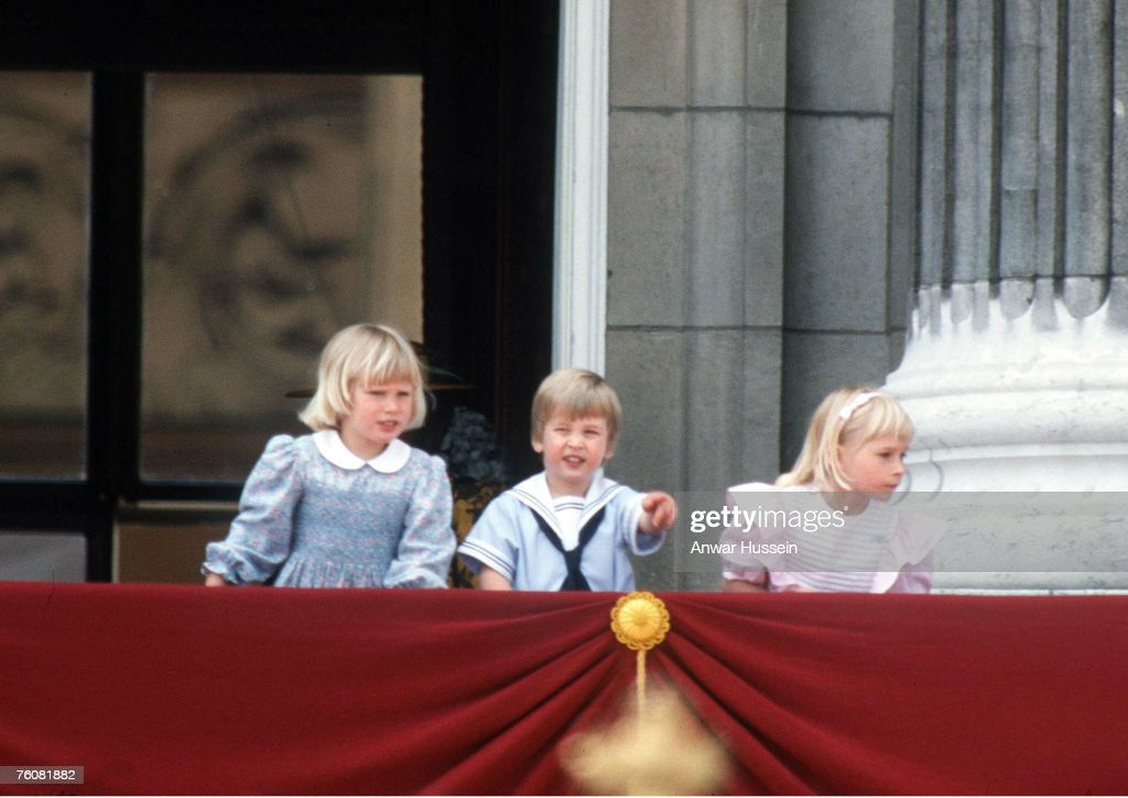 A young Prince William with Zara on the balcony of Buckingham Palace at the Trooping of the Colour in June, 1985
