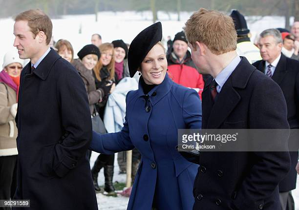 Zara Phillips Prince William and Prince Harry arrive to attend the Christmas Day service at Sandringham Church on December 25 2009 in King's Lynn...