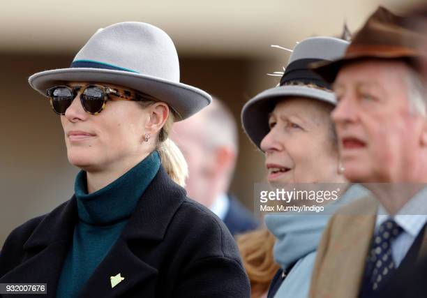 Zara Phillips Princess Anne Princess Royal and Andrew Parker Bowles attend day 1 'Champion Day' of the Cheltenham Festival at Cheltenham Racecourse...