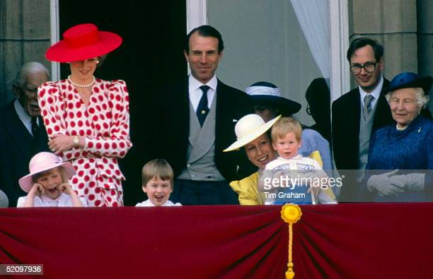 Zara Phillips Princess Diana Prince William Captain Mark Phillips Princess Anne Holding Prince Harrythe Duke Of Gloucester On The Balcony Of...