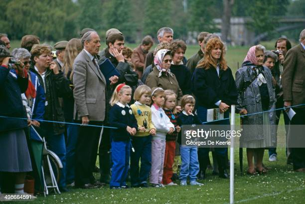 Zara Phillips Queen Elizabeth II Prince Andrew and Sarah Duchess of York at the Royal Windsor Horse Show UK 16th May 1987