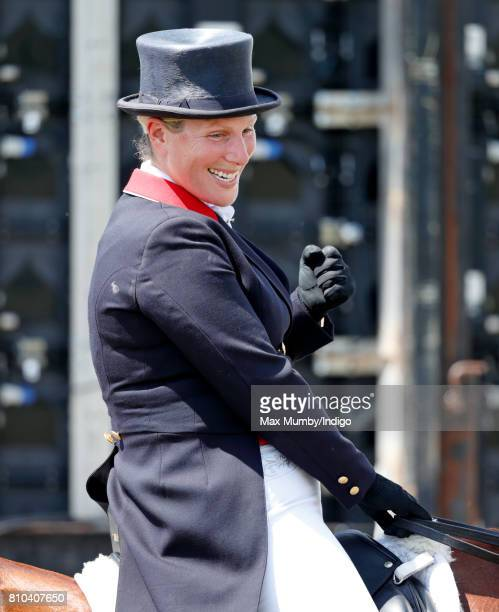 Zara Phillips reacts after competing in the dressage phase of the Barbury International Horse Trials on July 7, 2017 in Marlborough, England.