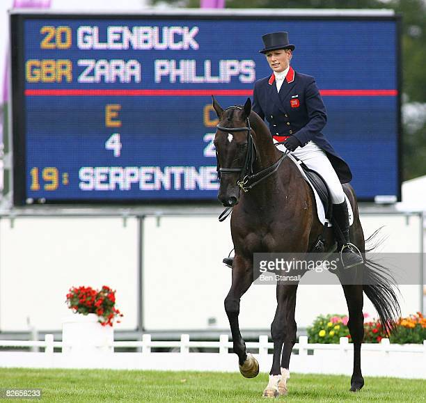 Zara Phillips rides Glenbuck during the dressage phase of The Land Rover Burghley Horse Trials on September 4 2008 in Stamford United Kingdom