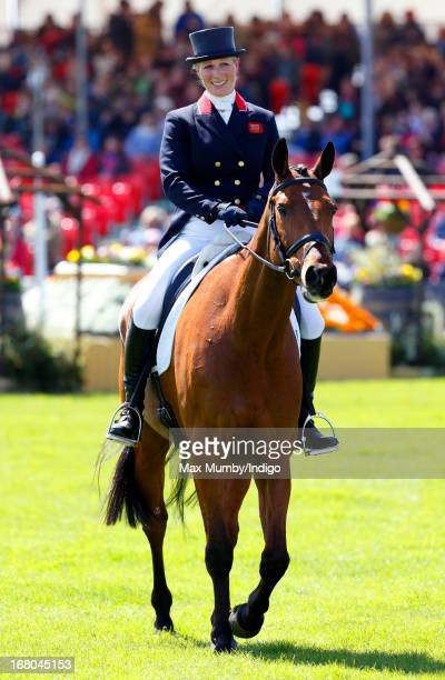 Zara Phillips rides out of the arena on her horse High Kingdom after competing in the dressage phase of the Badminton Horse Trials on May 4 2013 in...