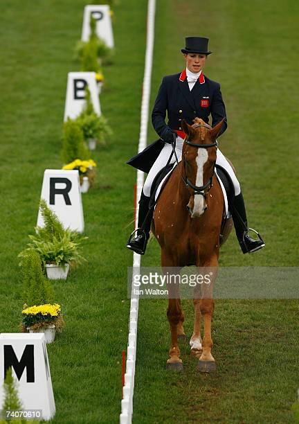 Zara Phillips rides Toytown during the Dressage event on the third day of the Badminton Horse Trials on May 4 2007 in Badminton Gloucestershire...