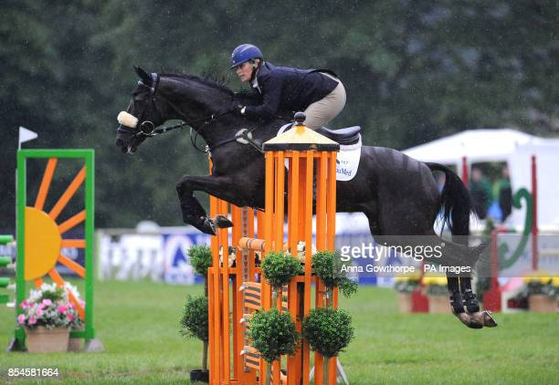 Zara Phillips riding Black Tuxedo competes in the CIC3* show jumping event during the Bramham International Horse Trials at Bramham Park West...