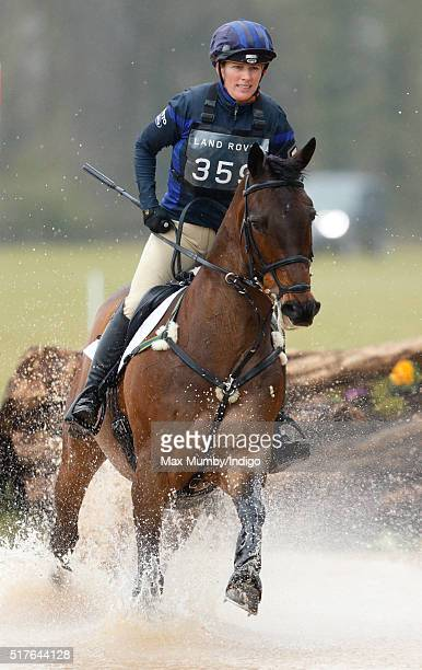Zara Phillips, riding her horse Rum Expectations, competes in the cross country phase of the Gatcombe Horse Trails at Gatcombe Park, Minchinhampton...
