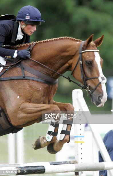 Zara Phillips show jumping on Toytown on the second day of the Gatcombe Horse Trials at the Gatcombe Estate on August 5 2006 in Tetbury England