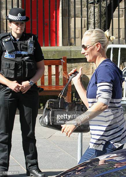 Zara Phillips smiles as she arrives to royal wedding rehearsal for Zara Phillips And Mike Tindall at Canongate Kirk on July 29, 2011 in Edinburgh,...