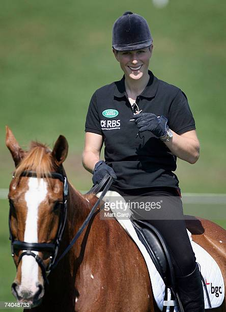 Zara Phillips smiles as she sits on her horse on the first day of the Badminton Horse Trials on May 2 2007 in Badminton Gloucestershire