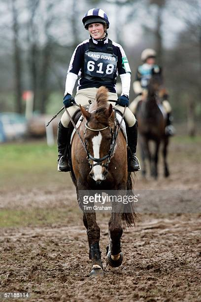 Zara Phillips smiling with relief as she completes the muddy cross country section of the British Eventing Gatcombe Horse Trials on March 26, 2006 at...