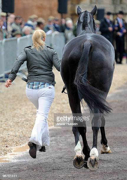 Zara Phillips takes her horse Glenbuck through the first horse inspection at Badminton Horse Trials on April 29, 2010 in Badminton, England