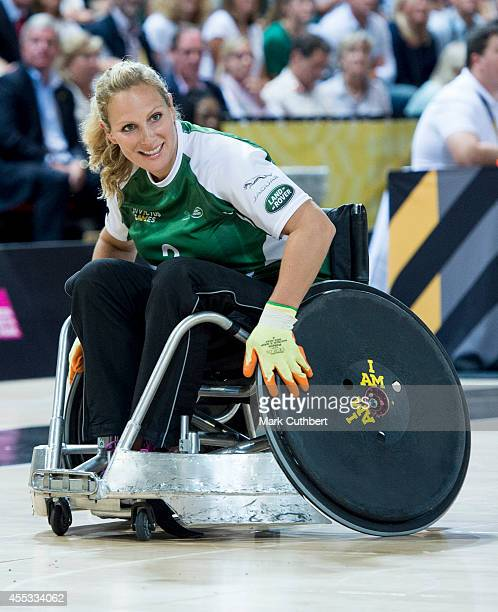Zara Phillips takes part in an exhibition Wheelchair Rugby match during The Invictus Games on September 12 2014 in London England