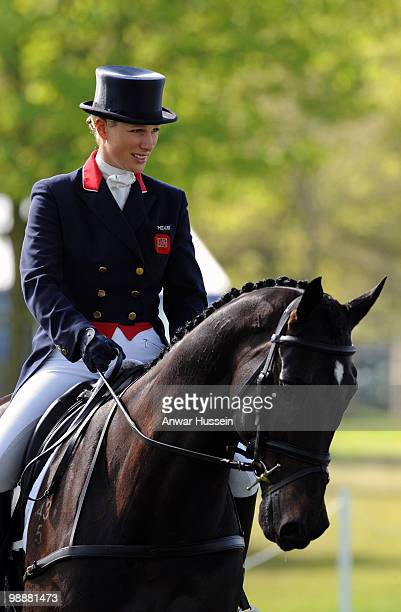 Zara Phillips takes part in the dressage section on her horse Glenbuck at Badminton Horse Trials on May 1 2010 in Badminton England