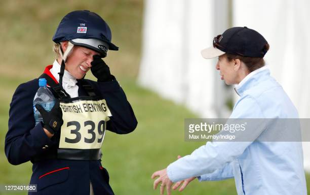 Zara Phillips talks to her mother Princess Anne, Princess Royal after competing in the showjumping phase of the Festival of British Eventing at...