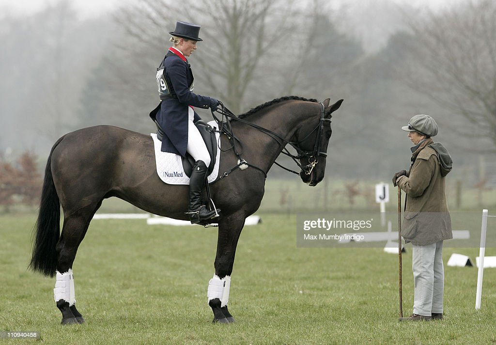 Zara Phillips (riding her horse Tallyho Sambucca) talks with her mother Princess Anne, The Princess Royal as she competes on day 2 of the Gatcombe Park Horse Trials on March 27, 2011 in Stroud, England.