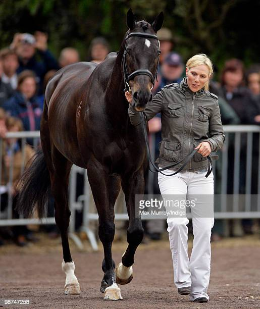 Zara Phillips trots up her horse 'Glenbuck' in the first horse inspection of the Badminton Horse Trials on April 29, 2010 in Badminton,...