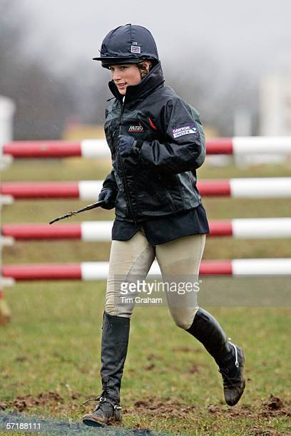 Zara Phillips walks the course in the rain at the British Eventing Gatcombe Horse Trials on March 26, 2006 at Gatcombe Park in Minchinhampton,...