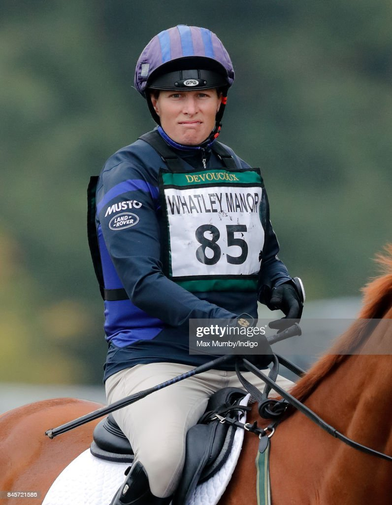 Zara Phillips warms up before competing on her horse 'Drops of Brandy' in the cross country phase of the Whatley Manor Horse Trials at Gatcombe Park on September 10, 2017 in Stroud, England.