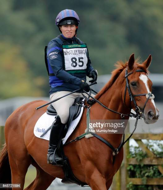 Zara Phillips warms up before competing on her horse 'Drops of Brandy' in the cross country phase of the Whatley Manor Horse Trials at Gatcombe Park...