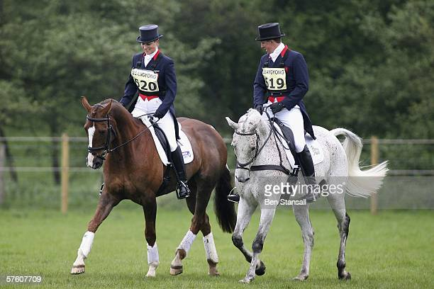Zara Phillips warms up with Matthew Wright prior to the dressage event at the Chatsworth SsangYong Horse Trials May 14, 2006 in Chatsworth, England.