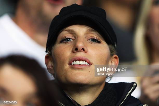 Zara Phillips watches on from the stand during the IRB 2011 Rugby World Cup Pool B match between England and Romania at Otago Stadium on September 24...